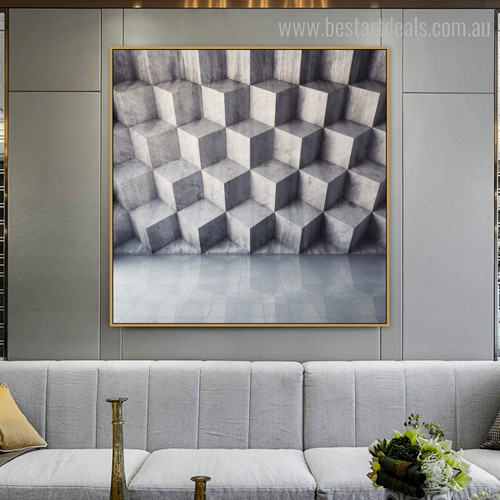 Marble Concrete Abstract Modern Framed Resemblance Photo Canvas Print for Living Room Wall Decoration