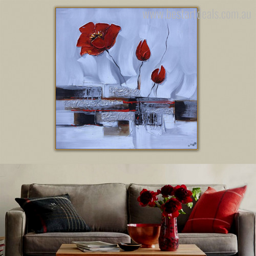 Poppy Buds Botanical Abstract Watercolor Framed Vignette Photo Canvas Print for Wall Assortment