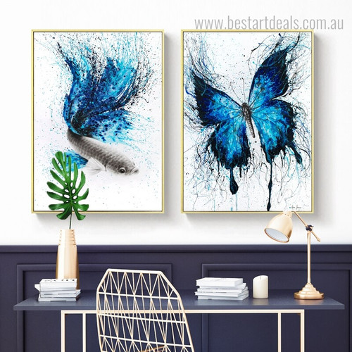 Bluish Butterfly and Fish Abstract Animal Framed Painting Picture Canvas Print for Room Wall Garniture
