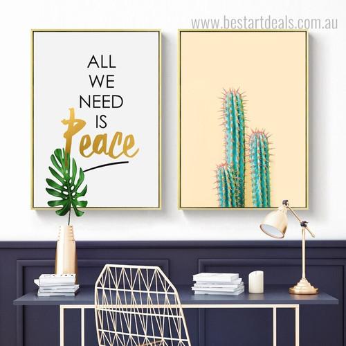 Stenocereus Thurberi Floral Modern Framed Portmanteau Image Canvas Print for Room Wall Getup