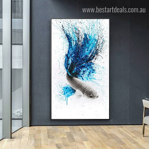 Bluish Perch Abstract Animal Framed Painting Portrait Canvas Print for Room Wall Decoration