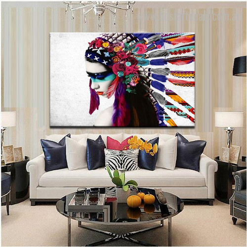 Tribal Mademoiselle Figure Framed Tableau Photo Canvas Floral Wall Print for Room Wall Ornament