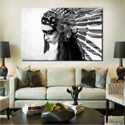 Tribal Colleen Floral Figure Framed Vignette Photo Canvas Print for Room Wall Tracery