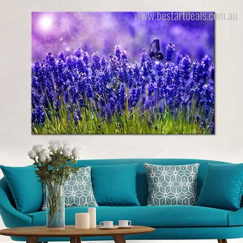 Lavender Animal Floral Framed Painting Portrait Canvas Print for Room Wall Decoration