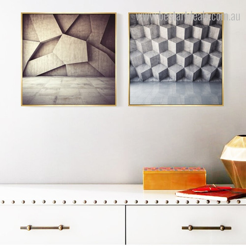 Square Stones Abstract Geometric Modern Framed Painting Photo Canvas Print for Room Wall Outfit