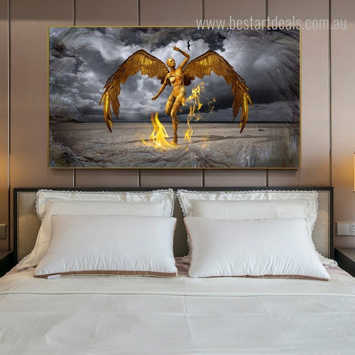 Golden Protector Bird Figure Nature Framed Likeness Image Canvas Print for Bedroom Wall Getup
