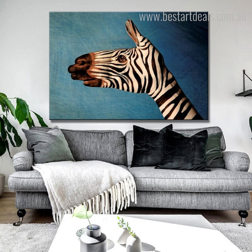 Hand Zebra Abstract Animal Modern Framed Painting Photo Canvas Prints for Living Room Wall Equipment