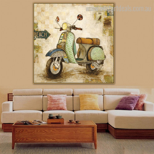 Scooter Abstract Vintage Framed Painting Image Canvas Print for Room Wall Getup