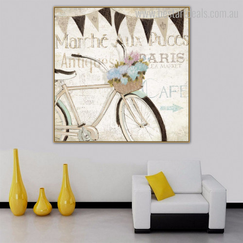 Bicycle Abstract Vintage Framed Effigy Photo Canvas Print for Living Room Wall Getup