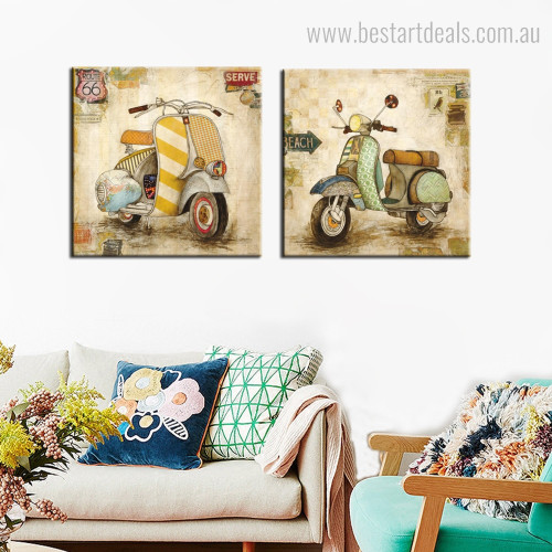 Vespa Scooter Abstract Vintage Framed Resemblance Portrait Canvas Print for Room Wall Decoration