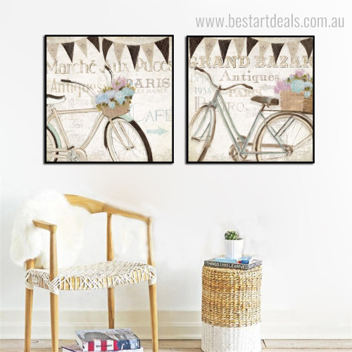 Panniers Abstract Vintage Framed Smudge Picture Canvas Print for Room Wall Moulding