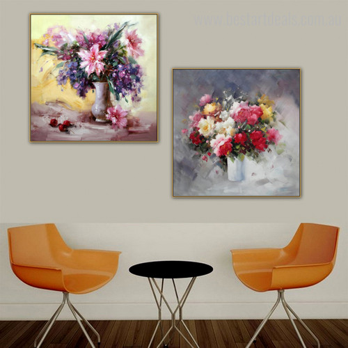 Commodes Abstract Botanical Framed Knife Likeness Image Canvas Print for Living Room Wall Assortment