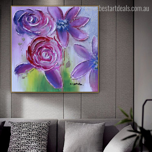 Pink Lilies Abstract Watercolor Floral Palette Knife Smudge Picture Canvas Print for Room Wall Drape