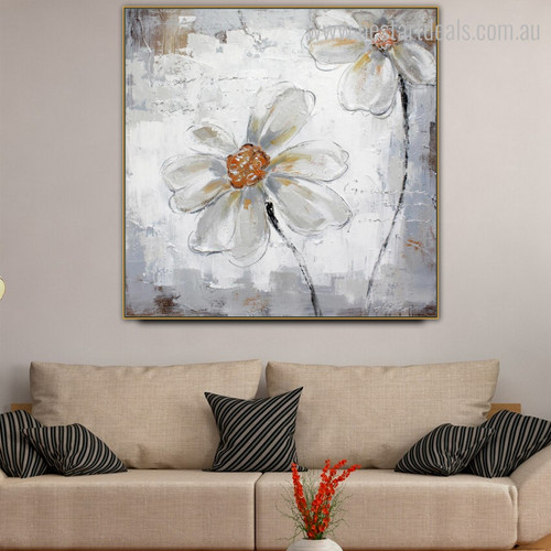 Japanese Anemones Framed Abstract Botanical Painting Picture Canvas Print for Room Wall Equipment
