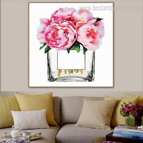 Lake Rose Wonderful Watercolor Modern Floral Framed Effigy Photo Canvas Print for Room Wall Molding