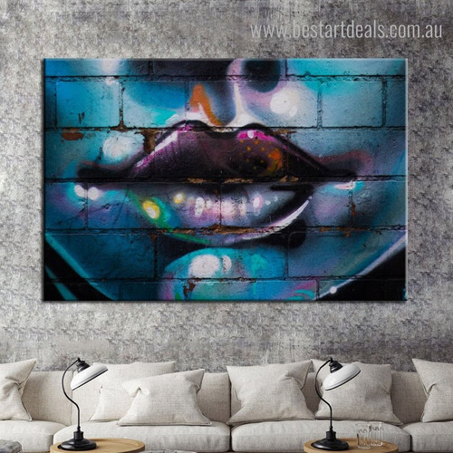 Woman Lip Abstract Figure Graffiti Framed Smudge Portrait Canvas Print for Living Room Wall Decoration