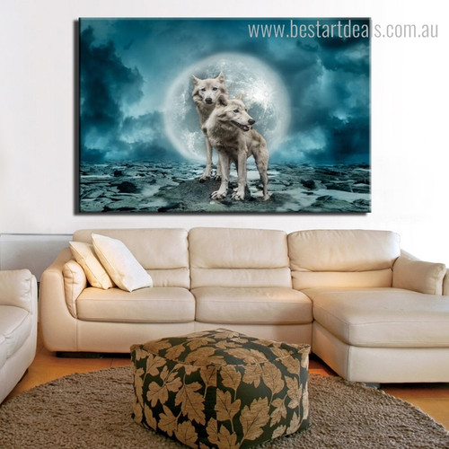 White Wolves Animal Modern Framed Vignette Photo Canvas Print for Room Wall Flourish