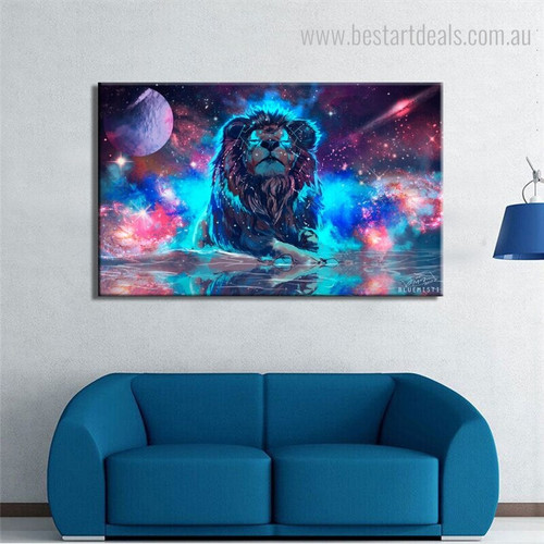 Galaxy Lion Animal Modern Framed Tableau Portrait Canvas Print for Living Room Adornment