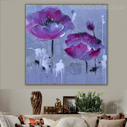 Lake Shade Poppies Abstract Watercolor Botanical Framed Portmanteau Photo Canvas Print for Room Wall Ornament
