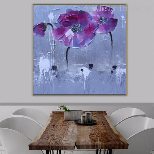 Pink Shade Poppies Abstract Watercolor Botanical Framed Painting Picture Canvas Print for Room Wall Ornamentation