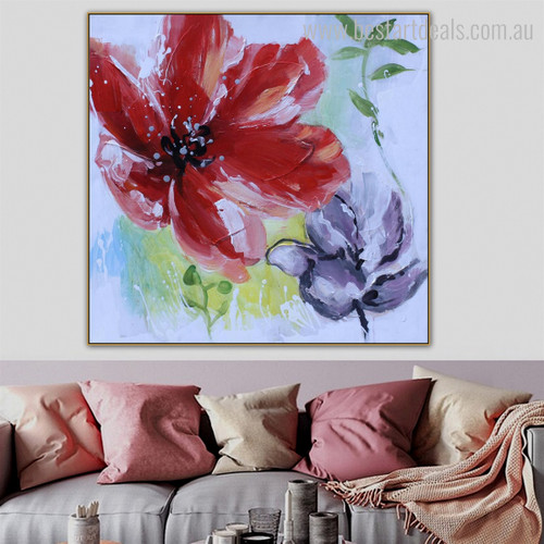 Scarlet Poppy Abstract Botanical Framed Resemblance Photo Canvas Print for Room Wall Tracery