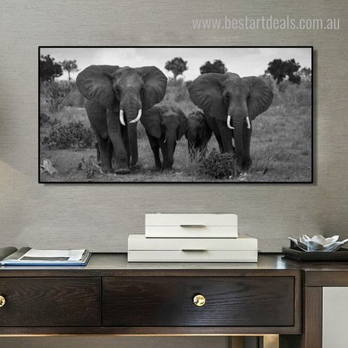 African Jumbos Animal Landscape Framed Painting Portrait Canvas Print for Living Room Wall Drape