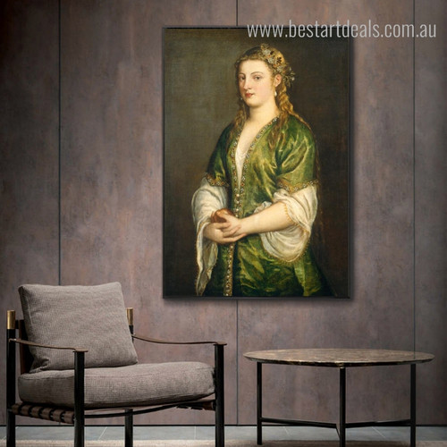 Portrait of Lady Renaissance Figure Framed Painting Image Canvas Print for Room Wall Ornament