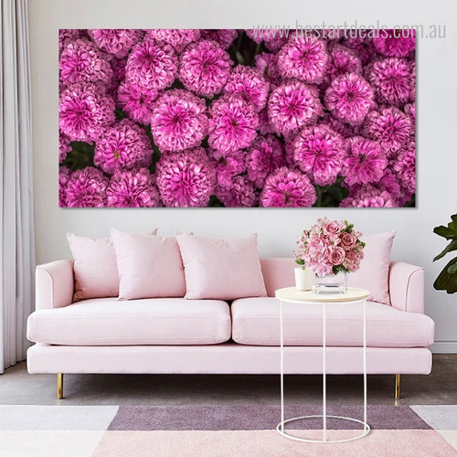 Pink Chrysanthemums with Leaves Modern Floral Framed Vignette Picture Canvas Print for Room Wall Onlay