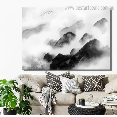 Ink Landscape Abstract Framed Smudge Portrait Canvas Print for Lounge Room Wall Outfit
