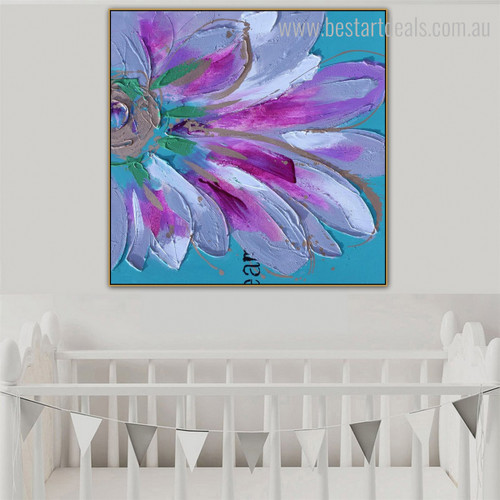 Flower Petal Abstract Watercolor Botanical Framed Vignette Image Canvas Print for Kids Room Wall Getup
