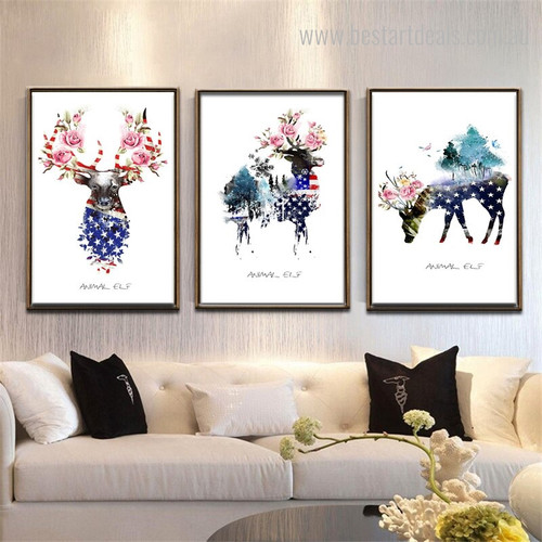 Elf Deers Abstract Animal Botanical Nordic Framed Painting Picture Canvas Print for Room Wall Decor