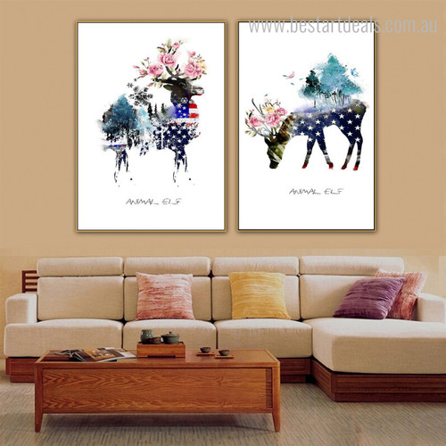 Sika Deers Abstract Animal Floral Nordic Effigy Photo Canvas Print for Room Wall Drape