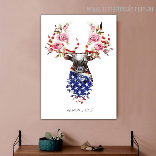 Elf Deer Abstract Animal Floral Nordic Framed Portmanteau Image Canvas Print for Room Wall Assortment