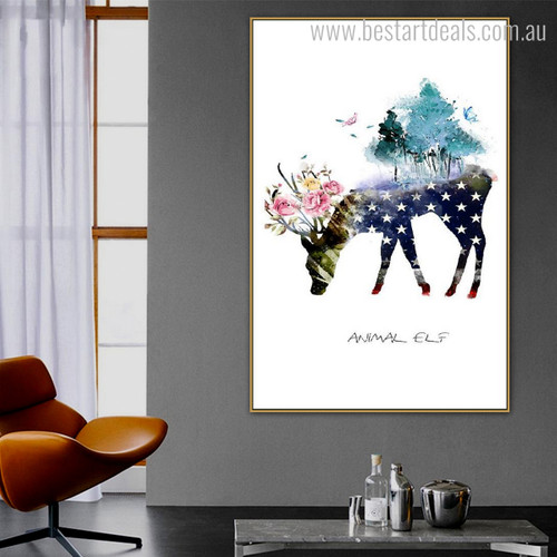 Elf Hart Abstract Animal Floral Nordic Framed Resemblance Image Canvas Print for Lounge Room Wall Disposition
