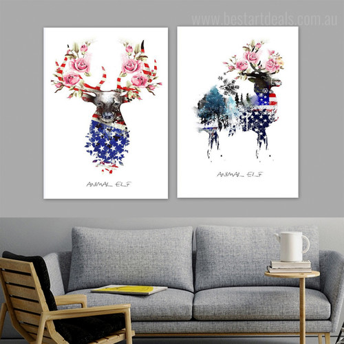 Elf Antelopes Abstract Animal Floral Nordic Framed Smudge Picture Canvas Print for Room Wall Equipment