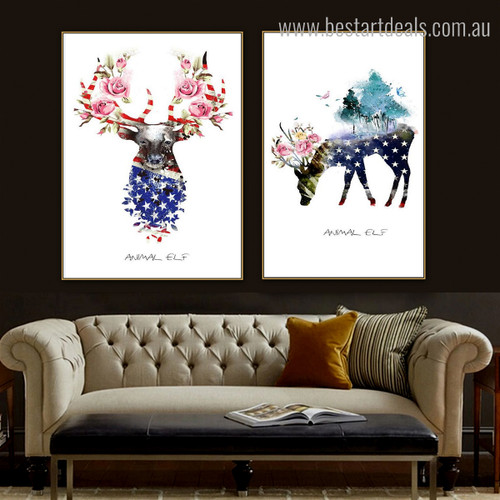 Elf Brockets Abstract Animal Floral Nordic Portrayal Image Canvas Print for Room Wall Assortment
