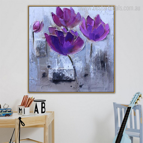 Poppies Burgeon Abstract Watercolor Modern Botanical Framed Painting Image Canvas Print for Room Wall Decoration