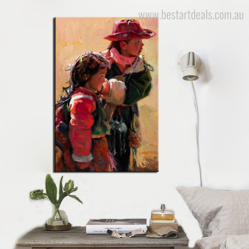 China Tibetan Children Abstract Figure Modern Framed Effigy Picture Canvas Print for Room Wall Trimming