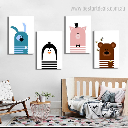 Cute Cartoons Animal Kids Nordic Framed Portmanteau Photo Canvas Print for Room Wall Garnish