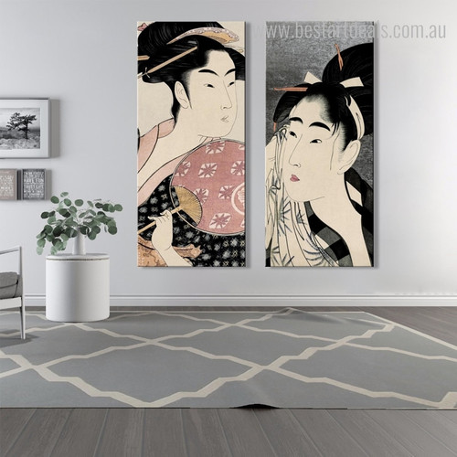 Takashima and Woman Wiping Figure Reproduction Framed Artwork Portrait Canvas Print for Lounge Room Wall Outfit