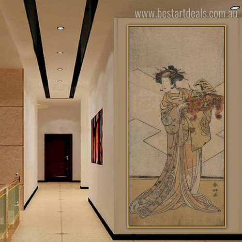 Japanese Woman Ukiyo E Vintage Figure Framed Painting Image Canvas Print for Room Wall Disposition