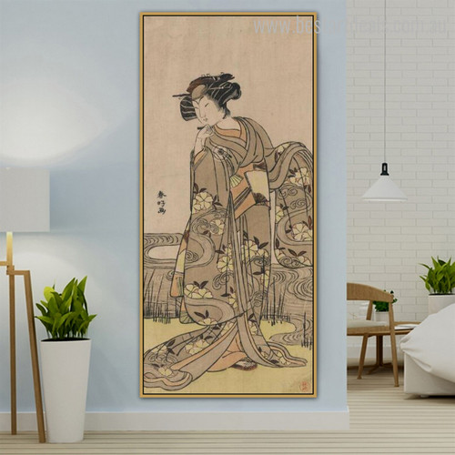 Japanese Dona Reproduction Ukiyo E Figure Framed Resemblance Photo Canvas Print for Room Wall Decoration