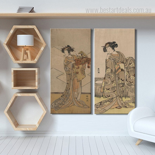 Japanese Ladies Vintage Ukiyo E Figure Reproduction Framed Smudge Picture Canvas Print for Room Wall Equipment