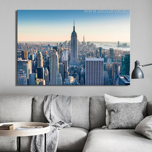 Skyscrapers City Modern Framed Vignette Picture Canvas Print for Room Wall Finery