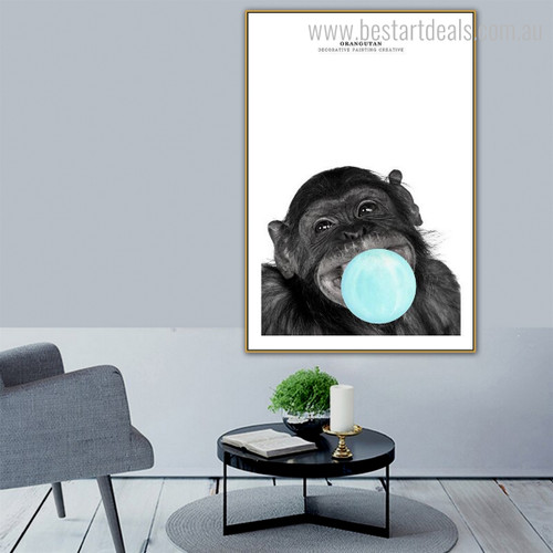 Black Orangutan Animal Modern Framed Portmanteau Picture Canvas Print for Lounge Room Wall Finery