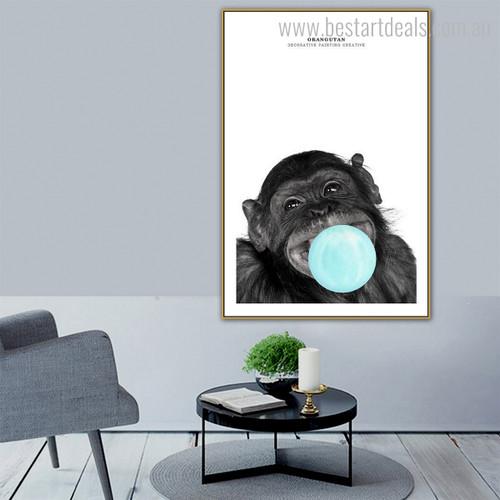 Black Orangutan Animal Modern Framed Portmanteau Picture Canvas Print for Lounge Room Wall Finery