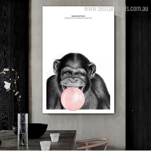 Dark Orangutan Contemporary Animal Framed Resemblance Photo Canvas Print for Room Wall Garnish