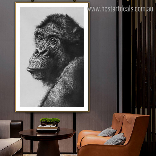 Chimpanzee Modern Animal Framed Painting Photo Canvas Print for Room Wall Decoration