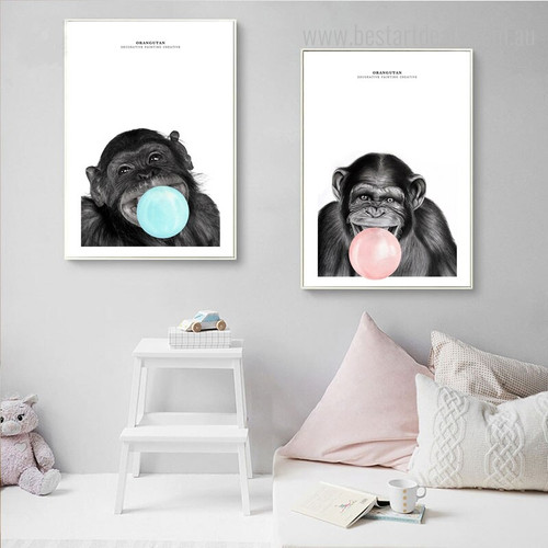 Orangutans Animal Modern Framed Painting Portrait Canvas Print for Room Wall Outfit