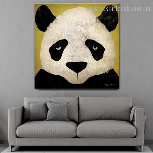 Panda Face Animated Animal Modern Framed Painting Portrait Canvas Print for Room Wall Getup